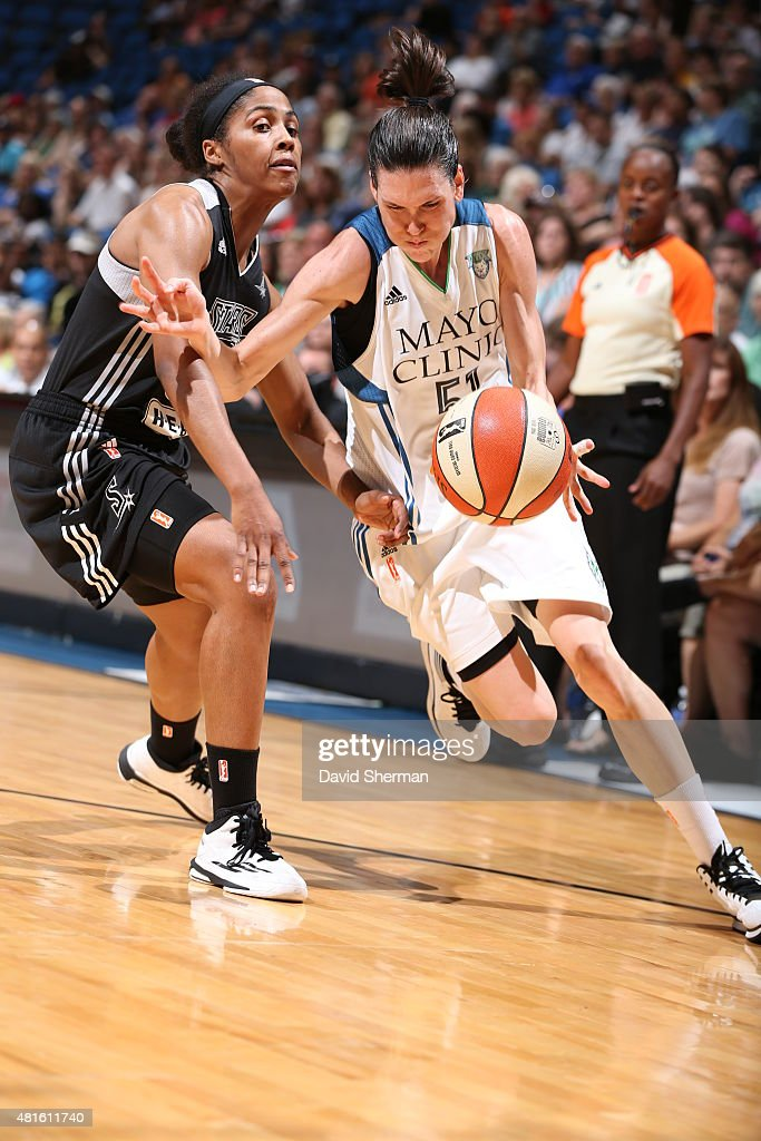 Anna Cruz #51 of the Minnesota Lynx drives to the basket against the San Antonio Stars on July 12, 2015 at Target Center in Minneapolis, Minnesota.