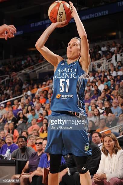 Anna Cruz of the Minnesota Lynx shoots the ball against the Phoenix Mercury during the WNBA Playoffs Western Conference Finals Game 2 on September 27...