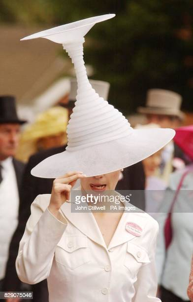 Anna Davidson wears an upside down cocktail glass hat during Ladies Day at Royal Ascot in Berkshire Crowds of racegoers were gathering for what is...