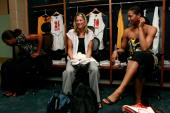 Anna DeForge and Tammy SuttonBrown of the Eastern Conference talk in the locker room prior to the 2007 WNBA AllStar game presented by Discover Card...