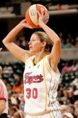 Anna DeForge of the Indiana Fever looks to inbound the ball during the WNBA game against the Connecticut Sun on June 22 2007 at Conseco Fieldhouse in...