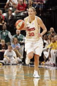 Anna DeForge of the Indiana Fever moves the ball up court in Game Two of the Eastern Conference Semifinals against the Connecticut Sun during the...