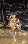 Anna DeForge of the Phoenix Mercury drives to the basket against the Connecticut Sun at America West Arena on July 19 2003 in Phoenix Arizona The Sun...