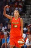 Anna DeForge of the Phoenix Mercury on court against the Washington Mystics during a WNBA game June 21 2005 at the MCI Center in Washington DC The...