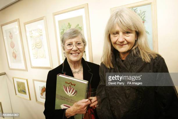 Anna Del Conte author and Val Archer artist at the launch of new culinary travelogue 'The Painter the Cook the Art of Cucina' in Chris Beetles...