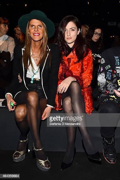 Anna dello Russo and Eleonora Carisi attend the Simonetta Ravizza show during the Milan Fashion Week Autumn/Winter 2015 on February 25 2015 in Milan...