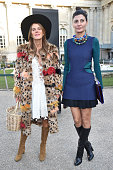 Anna Dello Russo and Giovanna Battaglia arrive at Chloe Fashion Show during Paris Fashion Week Fall Winter 2015/2016 on March 8 2015 in Paris France