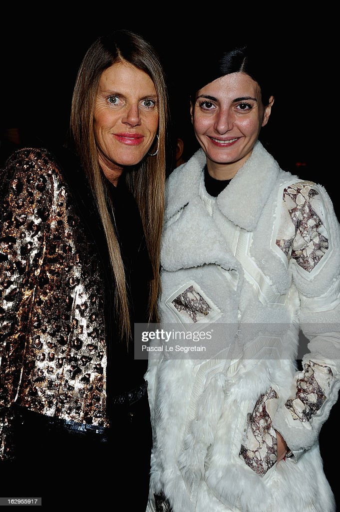 <a gi-track='captionPersonalityLinkClicked' href=/galleries/search?phrase=Anna+Dello+Russo&family=editorial&specificpeople=4391772 ng-click='$event.stopPropagation()'>Anna Dello Russo</a> and <a gi-track='captionPersonalityLinkClicked' href=/galleries/search?phrase=Giovanna+Battaglia&family=editorial&specificpeople=2215032 ng-click='$event.stopPropagation()'>Giovanna Battaglia</a> attend the front row at the Viktor&Rolf Fall/Winter 2013 Ready-to-Wear show as part of Paris Fashion Week on March 2, 2013 in Paris, France.