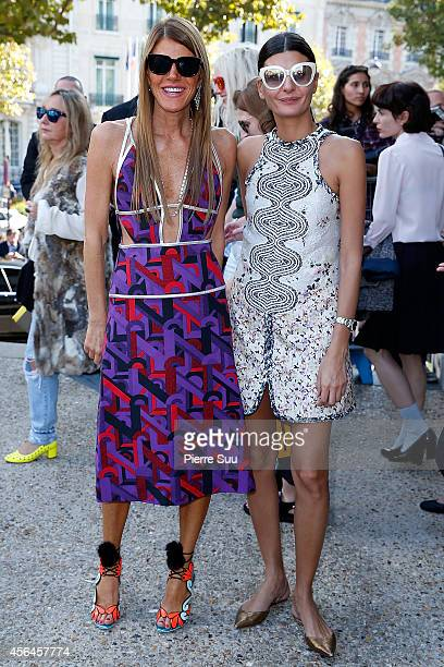 Anna Dello Russo and Giovanna Battaglia attend the Miu Miu show as part of the Paris Fashion Week Womenswear Spring/Summer 2015 on October 1 2014 in...