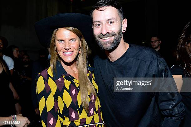 Anna Dello Russo and Marcelo Burlon are seen backstage ahead of the Marcelo Burlon County of Milan show during the Milan Men's Fashion Week...