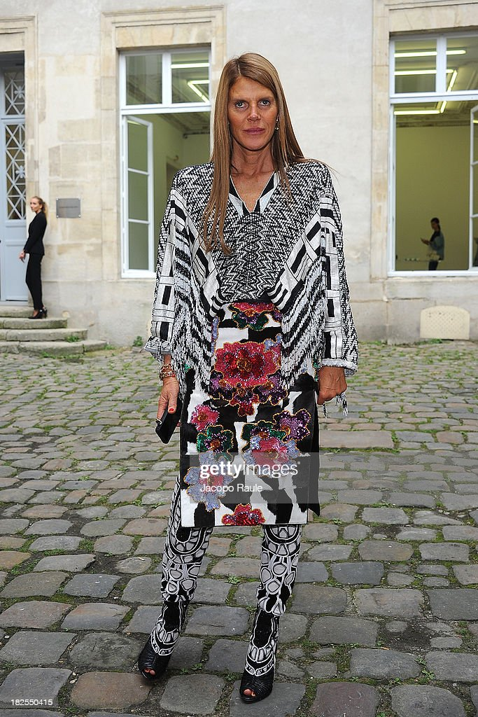 <a gi-track='captionPersonalityLinkClicked' href=/galleries/search?phrase=Anna+Dello+Russo&family=editorial&specificpeople=4391772 ng-click='$event.stopPropagation()'>Anna Dello Russo</a> arrives at Delfina Delettrez Presents Jewelry Collection during Paris Fashion Week Womenswear SS14 - Day 7 on September 30, 2013 in Paris, France.