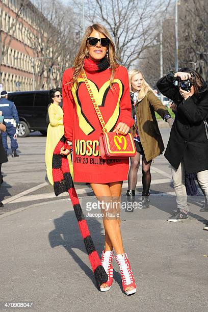 Anna Dello Russo arrives at Emporio Armani Fashion Show during Milan Fashion Week Womenswear Autumn/Winter 2014 on February 21 2014 in Milan Italy