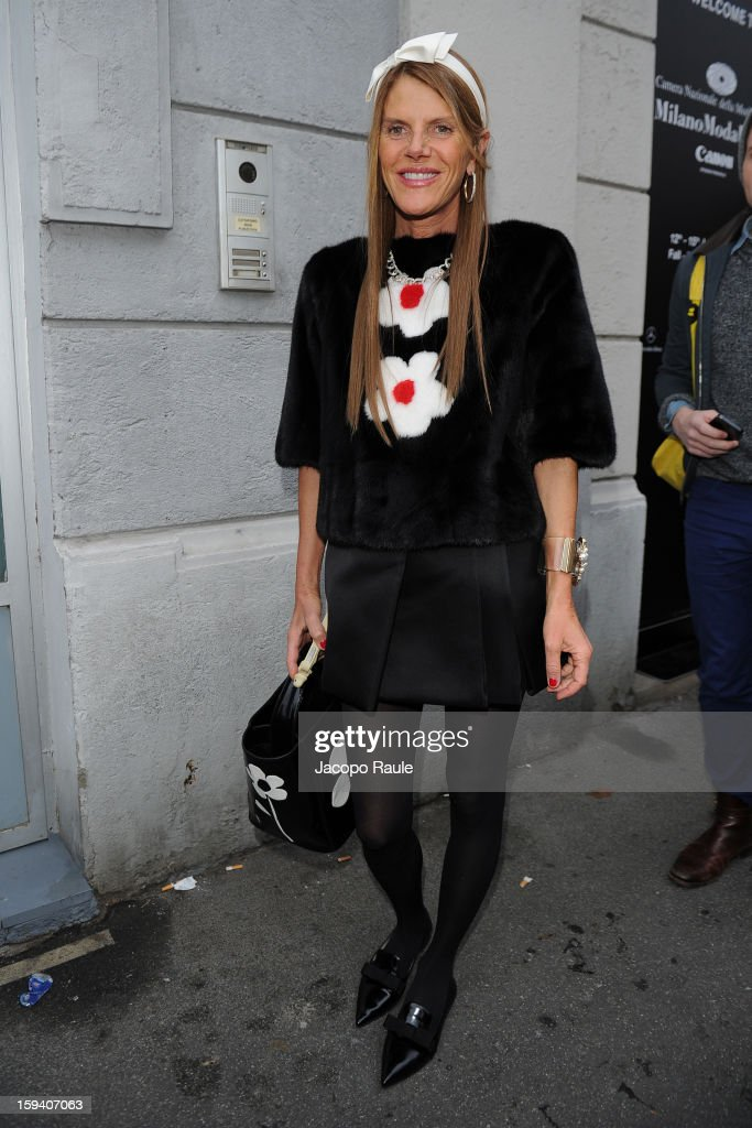 Anna Dello Russo arrives at Missoni Milan Fashion Week Menswear Autumn/Winter 2013 on January 13, 2013 in Milan, Italy.