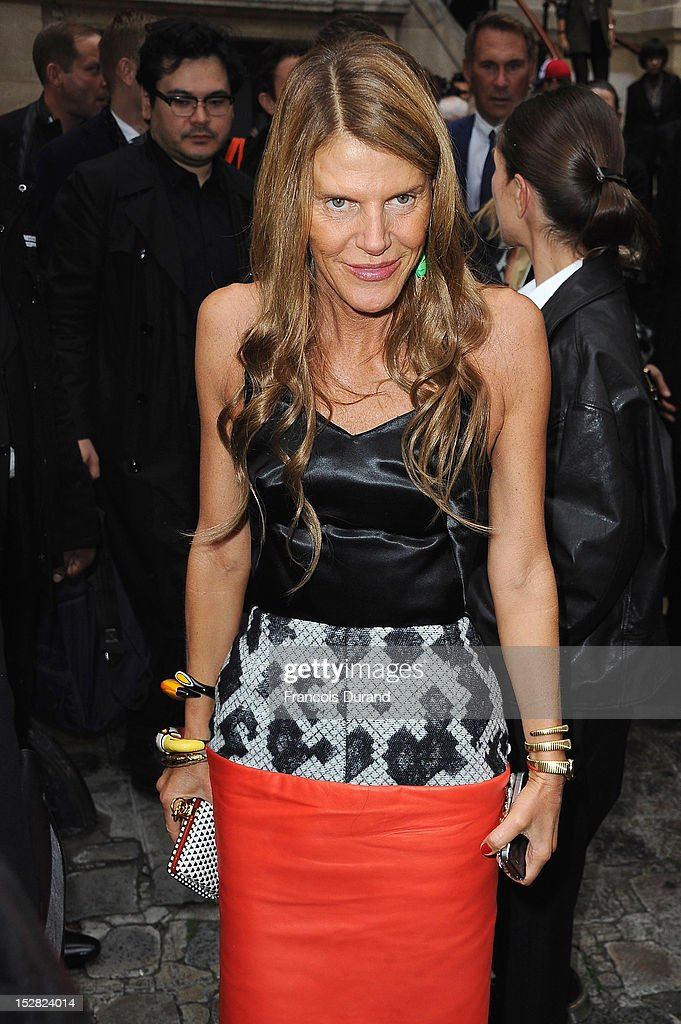 Anna Dello Russo arrives at the Balmain Spring / Summer 2013 show as part of Paris Fashion Week at Grand Hotel Intercontinental on September 27, 2012 in Paris, France.