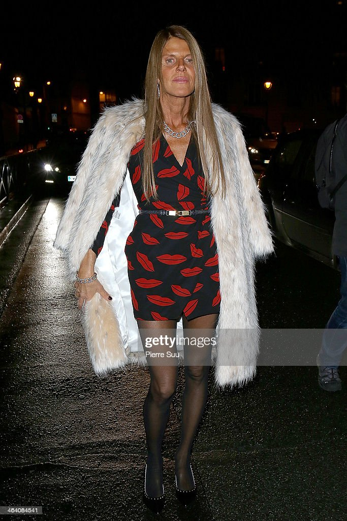 Anna Dello Russo arrives at the Giambattista Valli show as part of Paris Fashion Week Haute Couture Spring/Summer 2014 on January 20, 2014 in Paris, France.