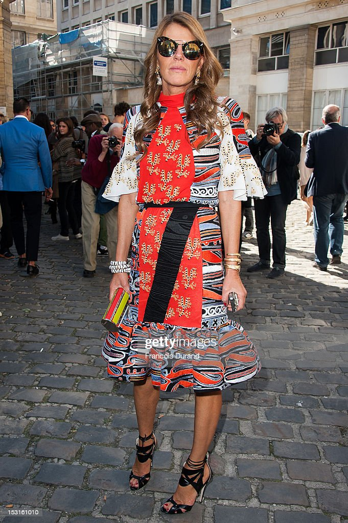 Anna Dello Russo arrives at the Giambattista Valli Spring / Summer 2013 show as part of Paris Fashion Week on October 1, 2012 in Paris, France.