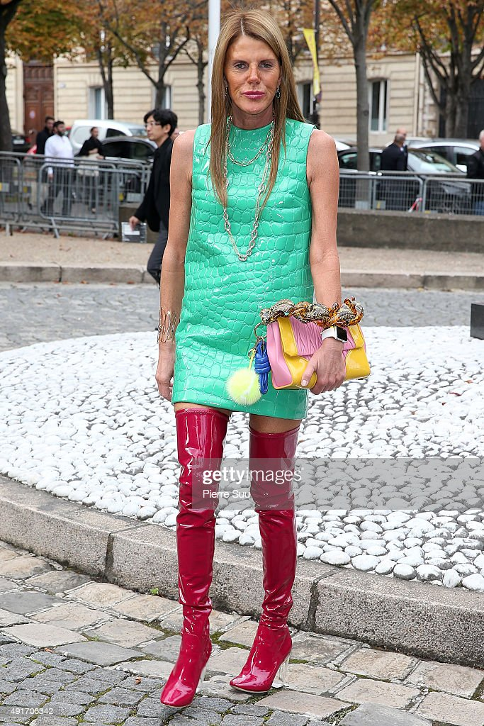 Anna Dello Russo arrives at the Miu Miu show as part of the Paris Fashion Week Womenswear Spring/Summer 2016 on October 7 2015 in Paris France
