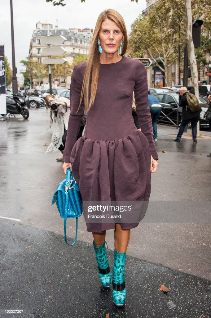 Anna Dello Russo arrives at the Miu Miu Spring/Summer 2013 show as part of Paris Fashion Week on October 3, 2012 in Paris, France.