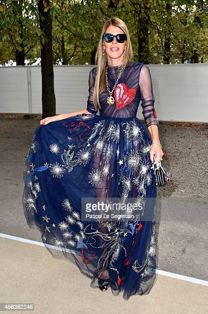 Anna Dello Russo arrives at the Valentino show as part of the Paris Fashion Week Womenswear Spring/Summer 2015 on September 30 2014 in Paris France