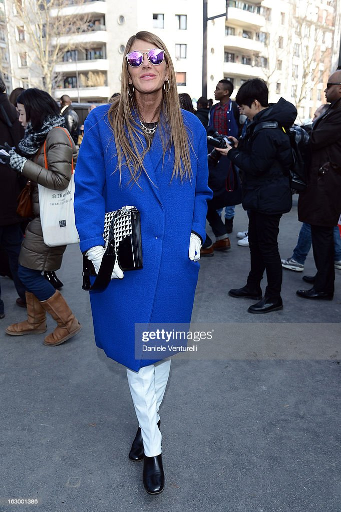 Anna dello Russo arrives to attend the Celine Fall/Winter 2013 Ready-to-Wear show as part of Paris Fashion Week on March 3, 2013 in Paris, France.