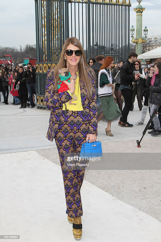 Anna Dello Russo arrives to attend the 'Valentino' Fall/Winter 2013 Ready-to-Wear show as part of Paris Fashion Week on March 5, 2013 in Paris, France.