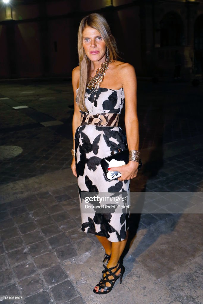 <a gi-track='captionPersonalityLinkClicked' href=/galleries/search?phrase=Anna+Dello+Russo&family=editorial&specificpeople=4391772 ng-click='$event.stopPropagation()'>Anna Dello Russo</a> arriving at Lanvin show as part of the Paris Fashion Week Womenswear Spring/Summer 2014, held at 'Ecole des beaux Arts' on September 26, 2013 in Paris, France.