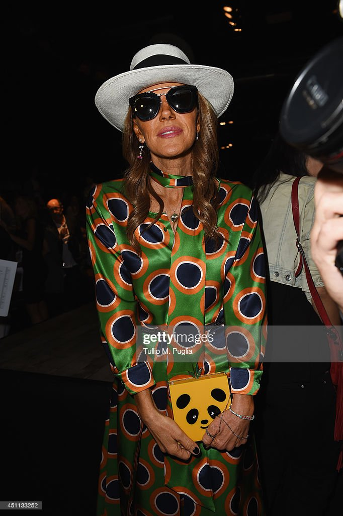 Anna Dello Russo attends DSquared2 show during Milan Menswear Fashion Week Spring Summer 2015 on June 24, 2014 in Milan, Italy.