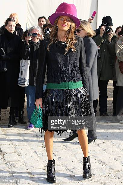 Anna Dello Russo attends Louis Vuitton show as part of the Paris Fashion Week Womenswear Fall/Winter 20142015 on March 5 2014 in Paris France