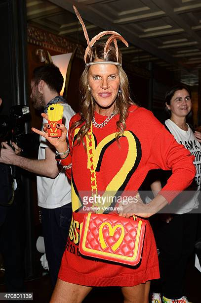Anna Dello Russo attends Moschino Dinner during the Milan Fashion Week Womenswear Autumn/Winter 2014 at Giacomo Arengario Restaurant on February 20...