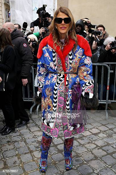 Anna Dello Russo attends the Christian Dior show as part of the Paris Fashion Week Womenswear Fall/Winter 20142015 on February 28 2014 in Paris France