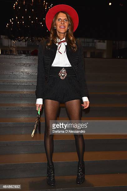 Anna Dello Russo attends the DolceGabbana show during the Milan Fashion Week Autumn/Winter 2015 on March 1 2015 in Milan Italy