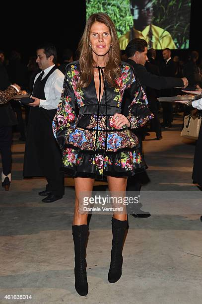 Anna Dello Russo attends the Dsquared2 during the Milan Menswear Fashion Week Fall Winter 2015/2016 on January 16 2015 in Milan Italy