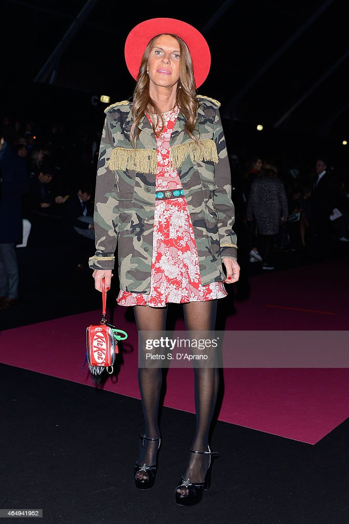 Anna Dello Russo attends the Dsquared2 show during the Milan Fashion Week Autumn/Winter 2015 on March 2 2015 in Milan Italy