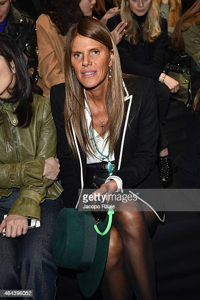 Anna Dello Russo attends the Fausto Puglisi show during the Milan Fashion Week Autumn/Winter 2015 on February 25 2015 in Milan Italy