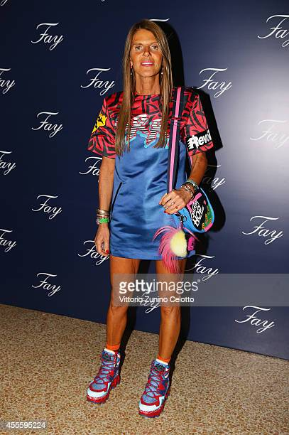 Anna Dello Russo attends the Fay show during the Milan Fashion Week Womenswear Spring/Summer 2015 on September 17 2014 in Milan Italy