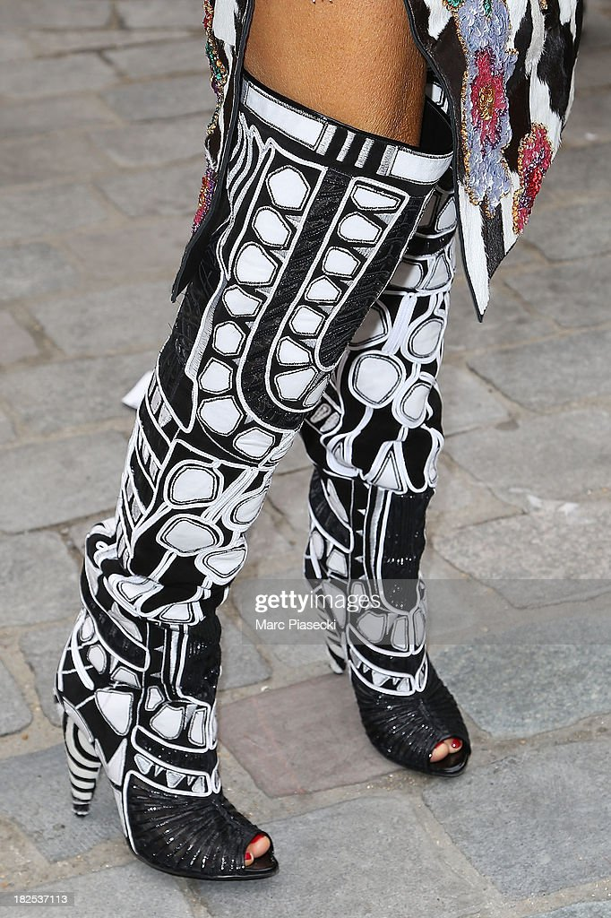 <a gi-track='captionPersonalityLinkClicked' href=/galleries/search?phrase=Anna+Dello+Russo&family=editorial&specificpeople=4391772 ng-click='$event.stopPropagation()'>Anna Dello Russo</a> (boots detail) attends the Giambattista Valli show as part of the Paris Fashion Week Womenswear Spring/Summer 2014 on September 30, 2013 in Paris, France.