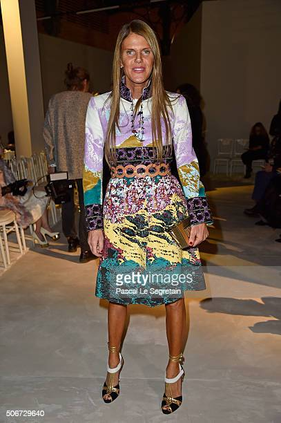 Anna Dello Russo attends the Giambattista Valli Spring Summer 2016 show as part of Paris Fashion Week on January 25 2016 in Paris France