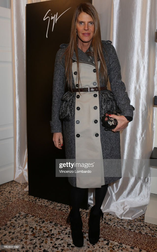 <a gi-track='captionPersonalityLinkClicked' href=/galleries/search?phrase=Anna+Dello+Russo&family=editorial&specificpeople=4391772 ng-click='$event.stopPropagation()'>Anna Dello Russo</a> attends the Giuseppe Zanotti Design Presentation during Milan Fashion Week Womenswear Fall/Winter 2013/14 on February 23, 2013 in Milan, Italy.