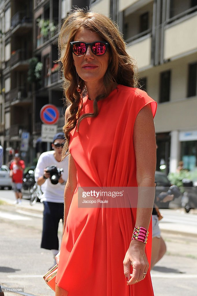 Anna Dello Russo attends the Gucci show during Milan Menswear Fashion Week Spring Summer 2014 show on June 24, 2013 in Milan, Italy.