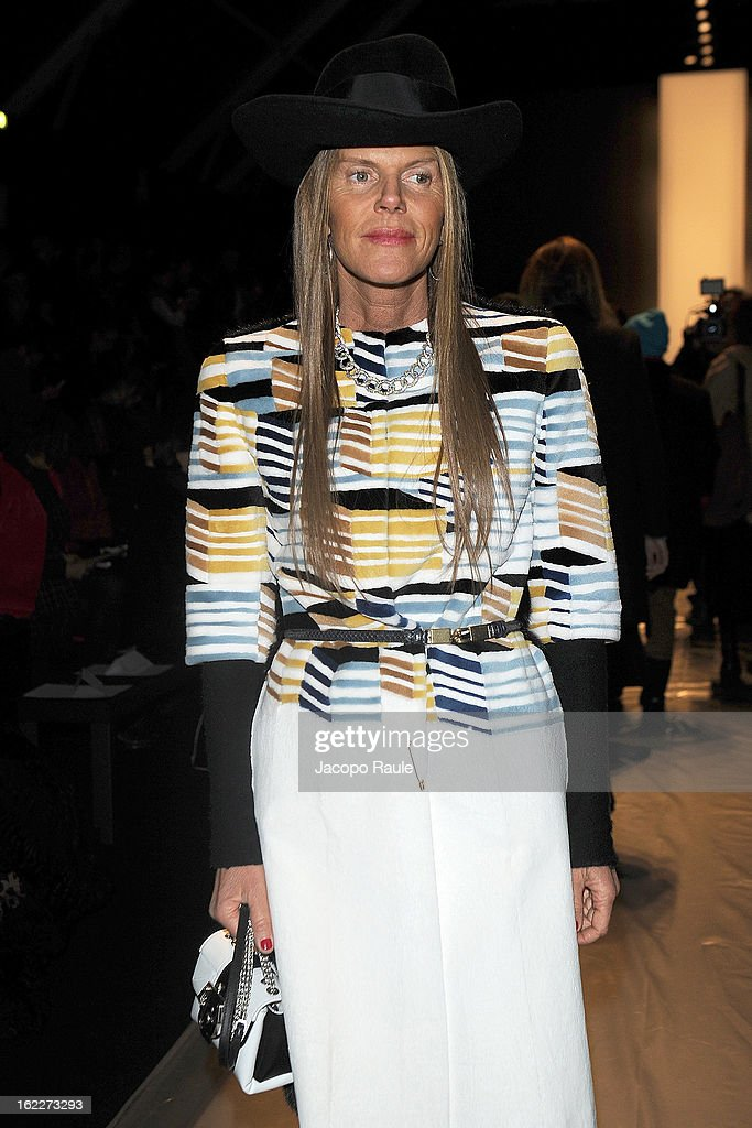 <a gi-track='captionPersonalityLinkClicked' href=/galleries/search?phrase=Anna+Dello+Russo&family=editorial&specificpeople=4391772 ng-click='$event.stopPropagation()'>Anna Dello Russo</a> attends the Max Mara fashion show during Milan Fashion Week Womenswear Fall/Winter 2013/14 on February 21, 2013 in Milan, Italy.
