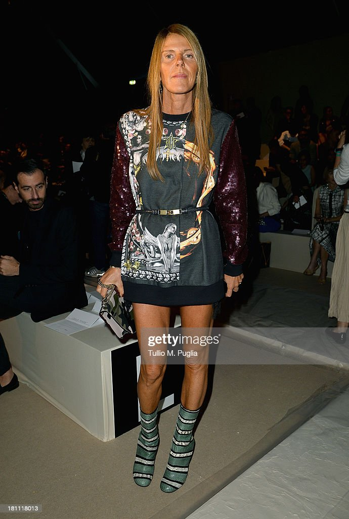 Anna Dello Russo attends the Max Mara show as a part of Milan Fashion Week Womenswear Spring/Summer 2014 on September 19, 2013 in Milan, Italy.