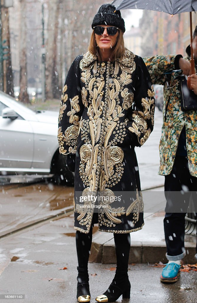 Anna Dello Russo attends the Milan Fashion Week Womenswear Fall/Winter 2013/14 on February 25, 2013 in Milan, Italy.