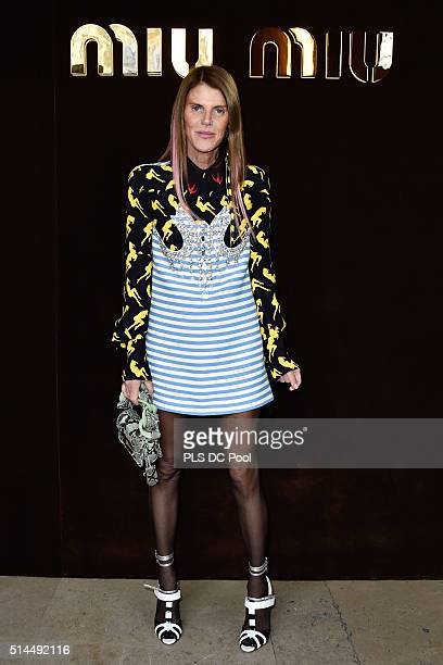 Anna Dello Russo attends the Miu Miu show as part of the Paris Fashion Week Womenswear Fall / Winter 2016 on March 9 2016 in Paris France