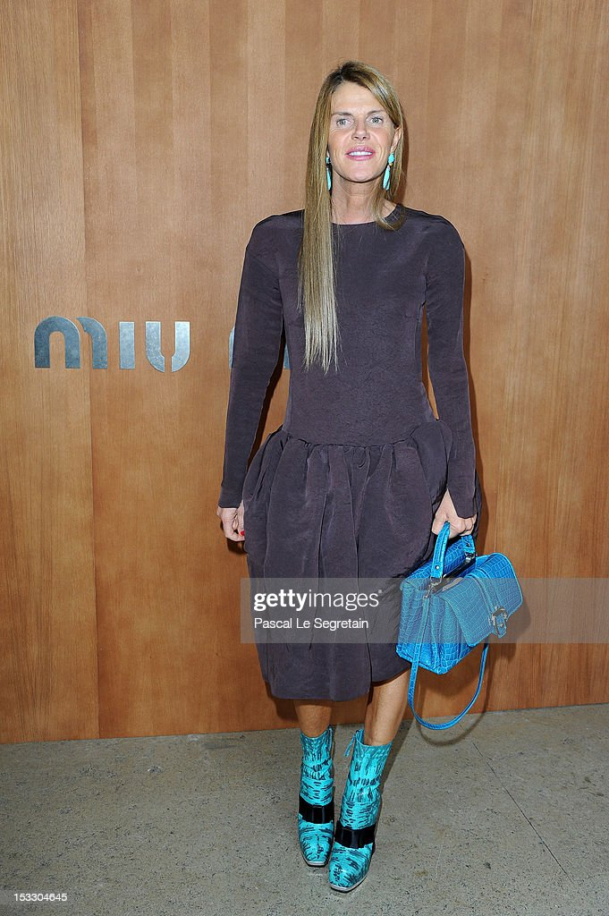 Anna Dello Russo attends the Miu Miu Spring/Summer 2013 show as part of Paris Fashion Week on October 3, 2012 in Paris, France.