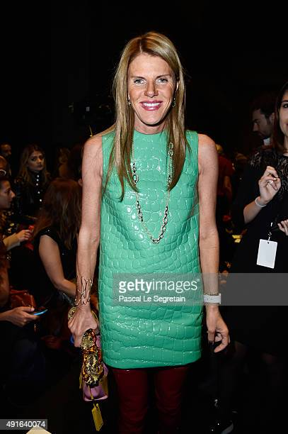 Anna Dello Russo attends the Moncler Gamme Rouge show as part of the Paris Fashion Week Womenswear Spring/Summer 2016 on October 7 2015 in Paris...