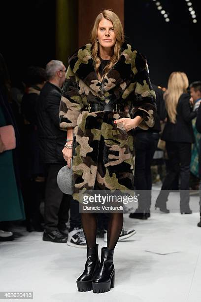 Anna Dello Russo attends the Roberto Cavalli show as a part of Milan Fashion Week Menswear Autumn/Winter 2014 on January 14 2014 in Milan Italy