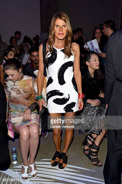 Anna Dello Russo attends the Roberto Cavalli show during the Milan Menswear Fashion Week Spring Summer 2015 on June 24 2014 in Milan Italy