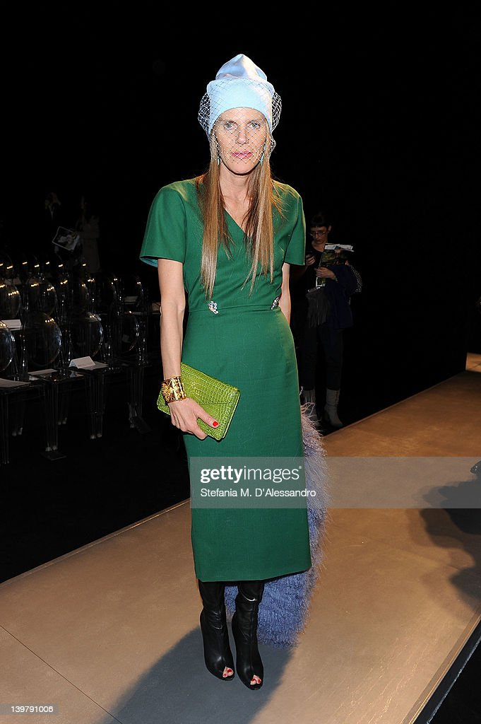 <a gi-track='captionPersonalityLinkClicked' href=/galleries/search?phrase=Anna+Dello+Russo&family=editorial&specificpeople=4391772 ng-click='$event.stopPropagation()'>Anna Dello Russo</a> attends the runway at the Sportmax Autumn/Winter 2012/2013 fashion show as part of Milan Womenswear Fashion Week on February 25, 2012 in Milan, Italy.