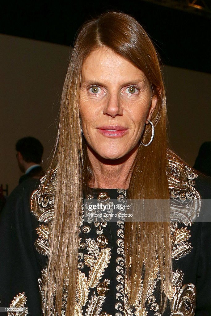 Anna Dello Russo attends the Salvatore Ferragamo fashion show during Milan Fashion Week Womenswear Fall/Winter 2013/14 on February 24, 2013 in Milan, Italy.