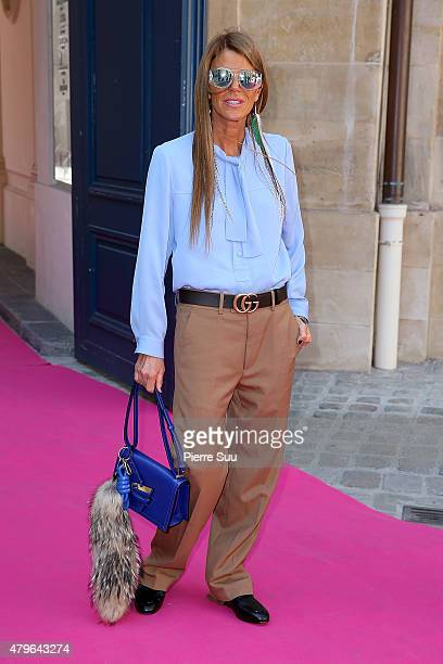 Anna Dello Russo attends the Schiaparelli show as part of Paris Fashion Week Haute Couture Fall/Winter 2015/2016 on July 6 2015 in Paris France